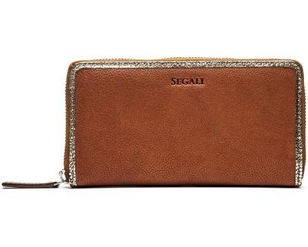 Dámská kožená peněženka SEGALI 612 06 9086 koňaková/zlatá
