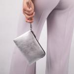 Kožená kabelka etue SEGALI A2 stříbrná